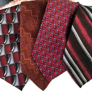 Lot of four 100% silk ties Red